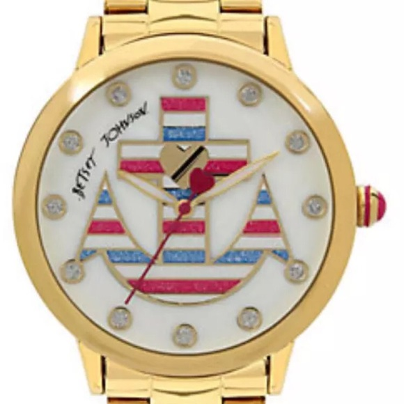 Betsey Johnson Accessories Gold Watch Nautical Anchor Crystal